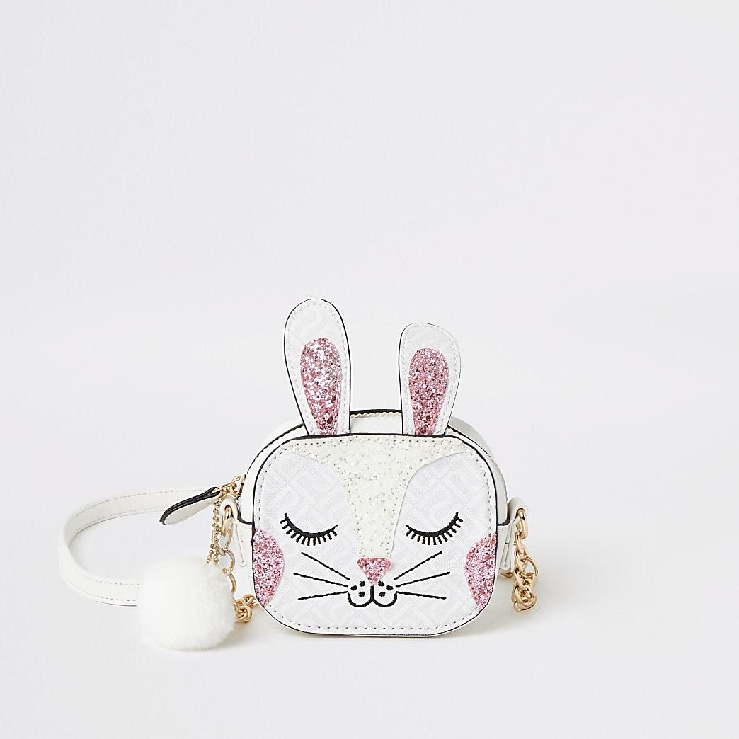 Girls white bunny embellished cross body bag