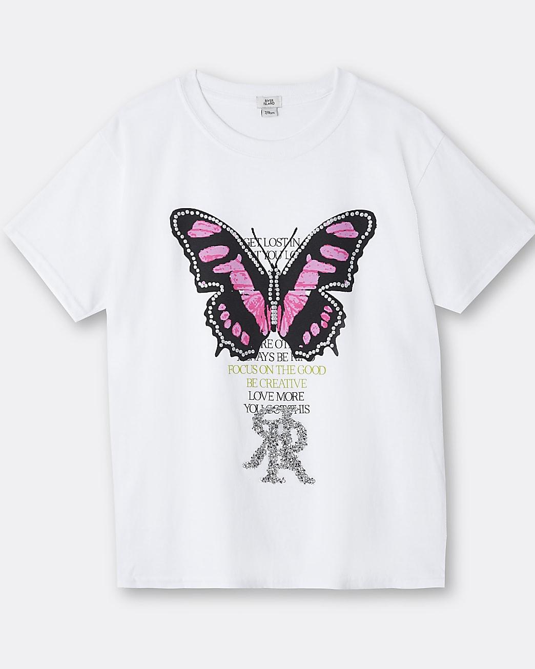 Girls white butterfly 3D trim t-shirt
