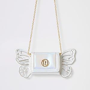 Girls white butterfly cross body bag