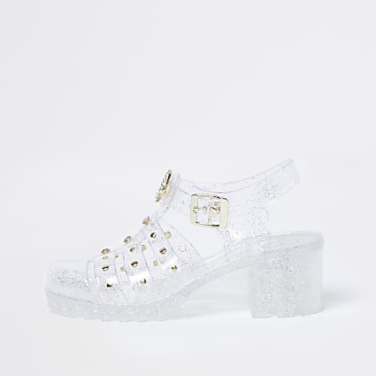 Girls white caged jelly heeled sandals