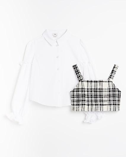 Girls white check print 2 in 1 shirt set