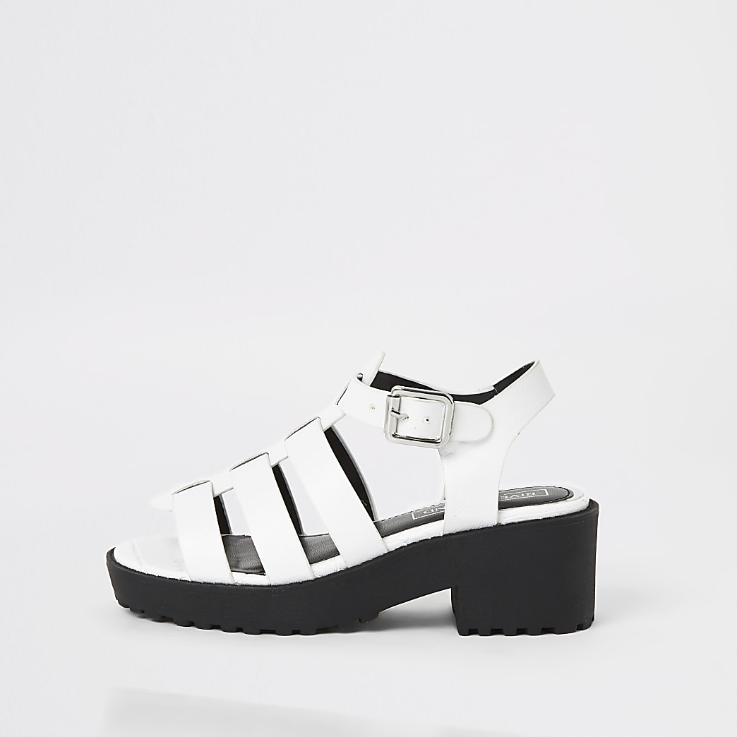 Girls white chunky gladiator sandals