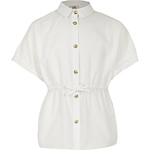 Girls white cinched waist poplin shirt