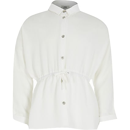 Girls white cinched waist shirt
