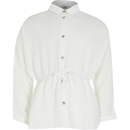 Girls white cinched waist shirt