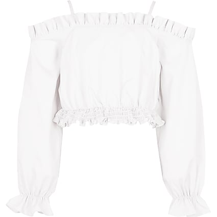 Girls white cold shoulder bardot top