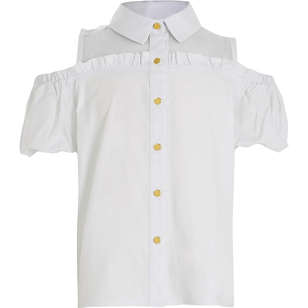 Girls white cold shoulder organza Shirt
