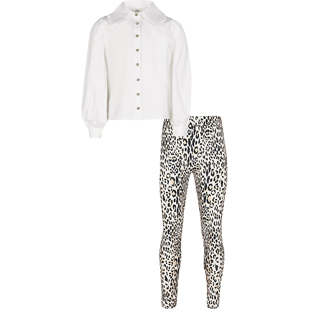 Girls white collar shirt leggings outfit