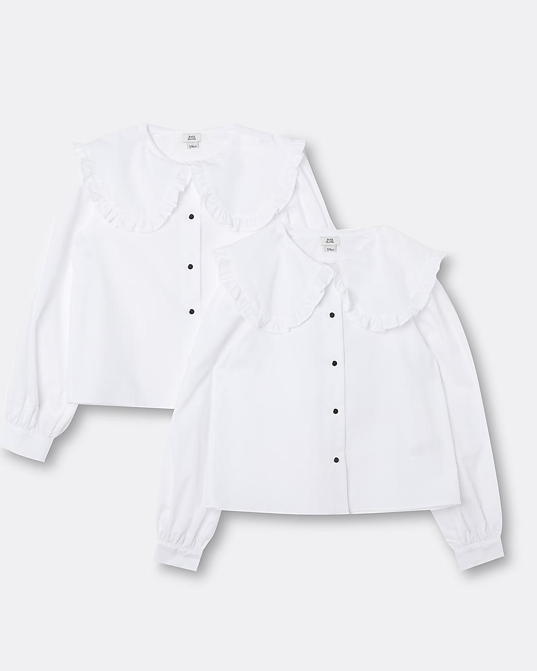 Girls white collared shirts 2 pack