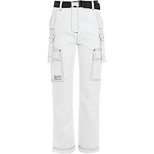 Pantalon blanc ceinturé avec surpiqûres contrastées pour fille