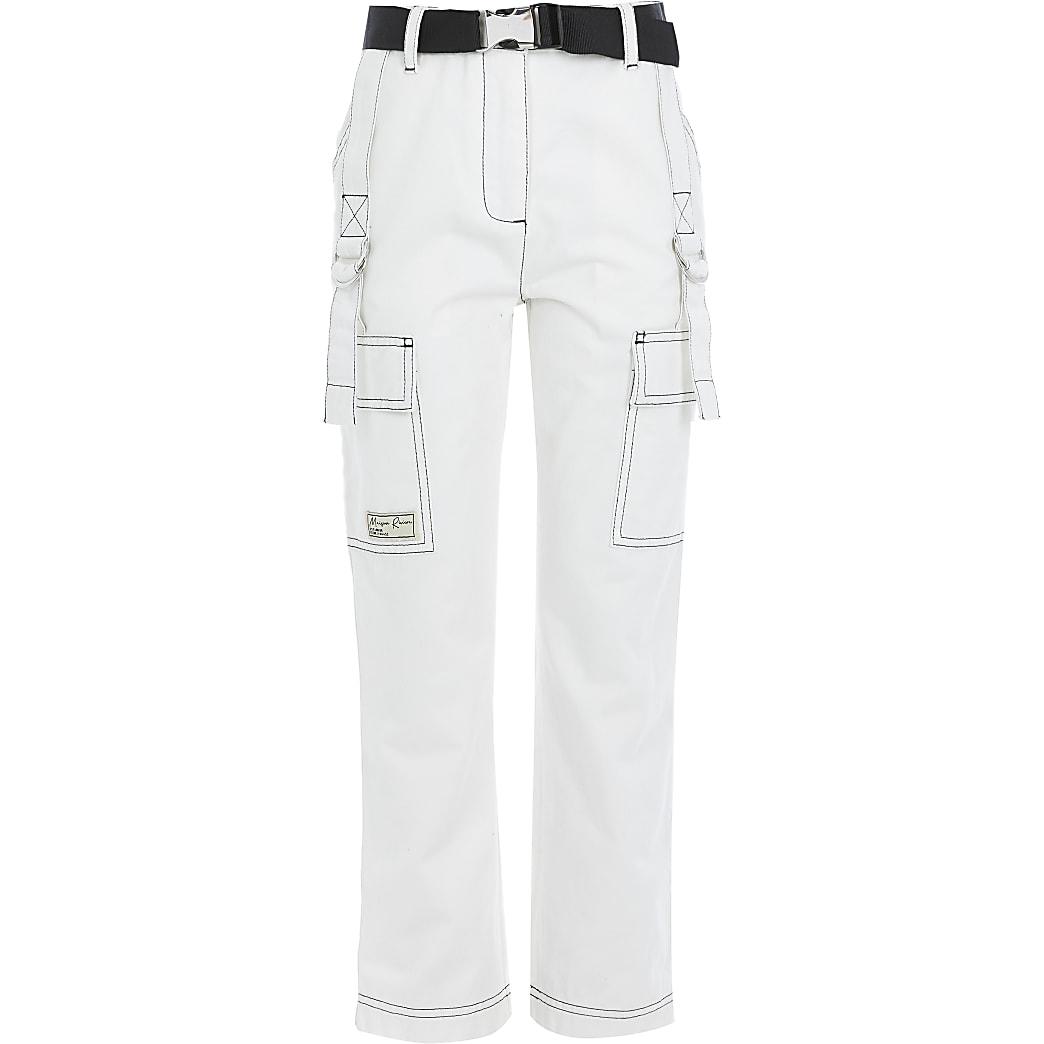 Witte broek met ceintuur en contrasterend stiksel voor meisjes