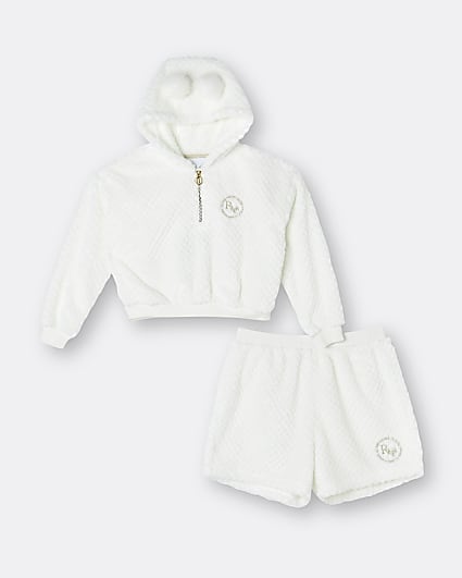 Girls white cosy RI hoodie and shorts outfit