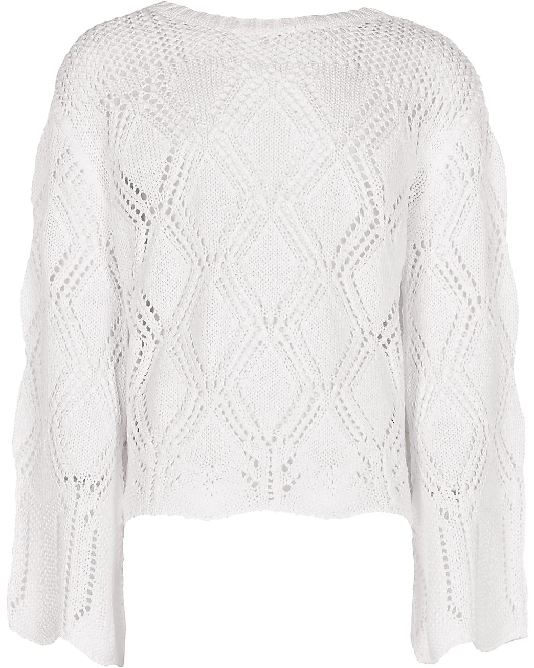 Girls white crochet long sleeve top