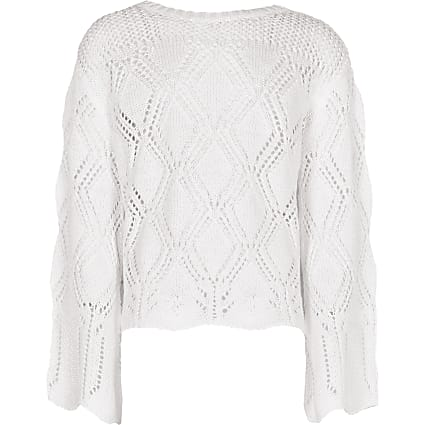 Girls white crochet long sleeve top