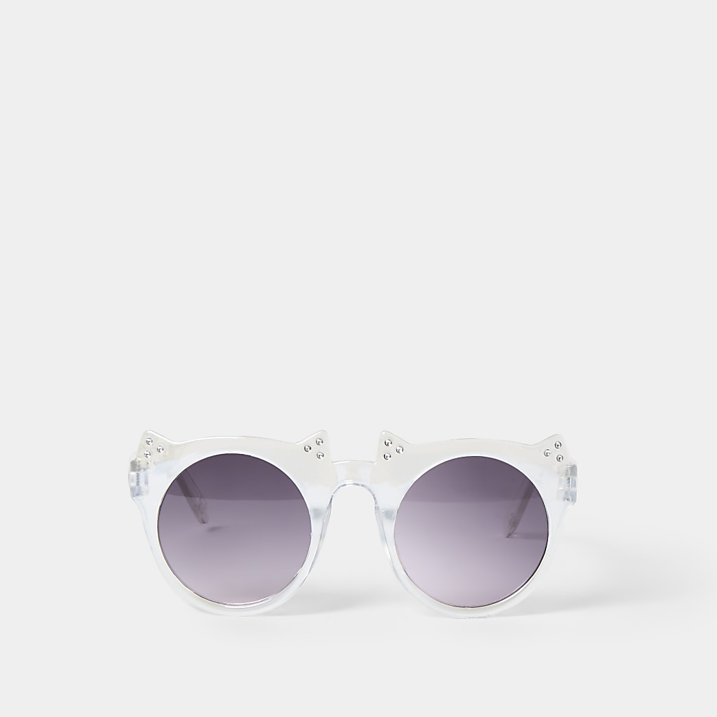 Girls white crystal cat sunglass