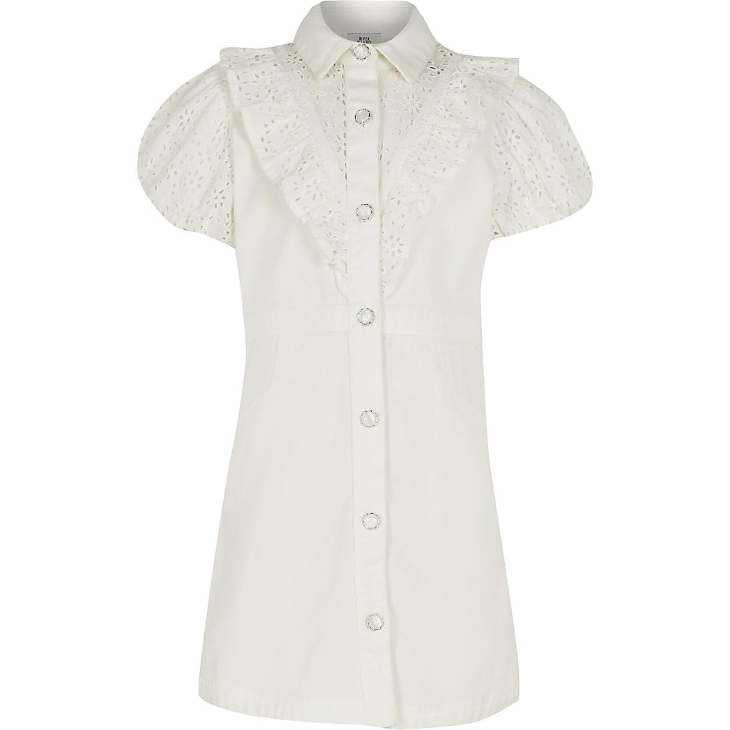 Girls white denim broderie shirt dress