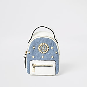 Girls white denim quilted RI pearl backpack