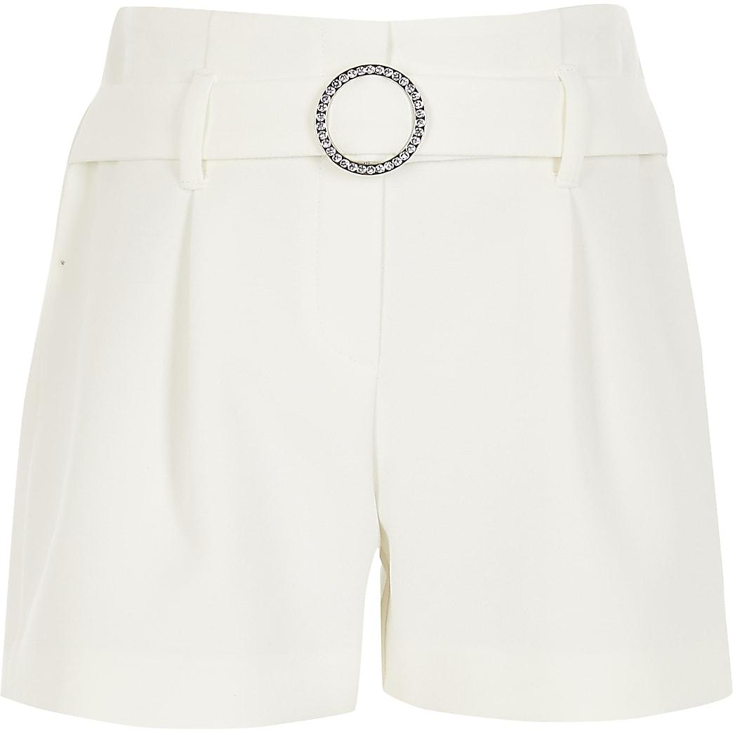 Witte shorts met ceintuur met siersteentjes voor meisjes