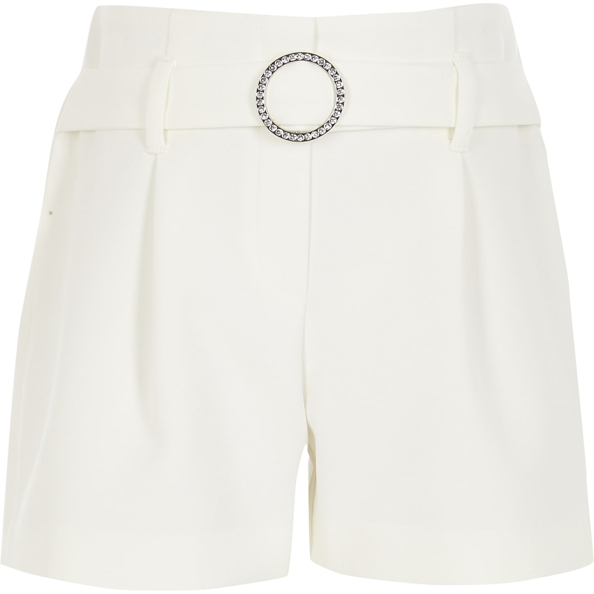 Girls white diamante belted shorts