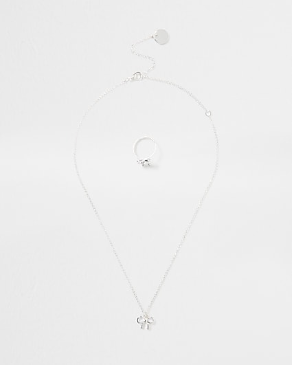 Girls white diamante bow ring necklace set