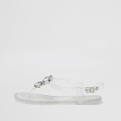 Girls white diamante jelly sandal