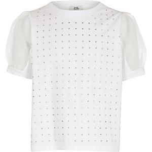 T-shirtà strass avec manches en organza blanc pour fille