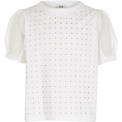 Girls white diamante organza sleeve T-shirt