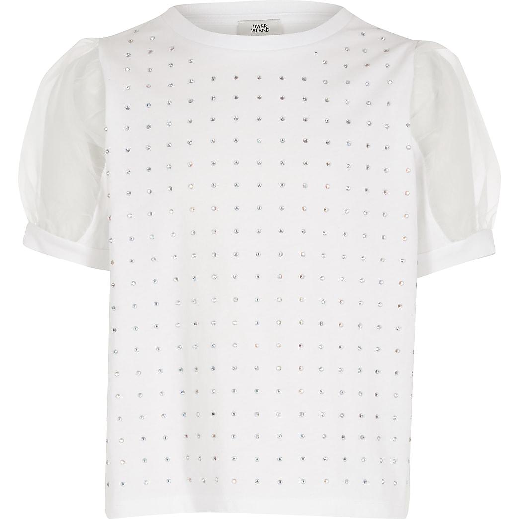 Wit  T-shirt met siersteentjes enorganza mouwen voor meisjes