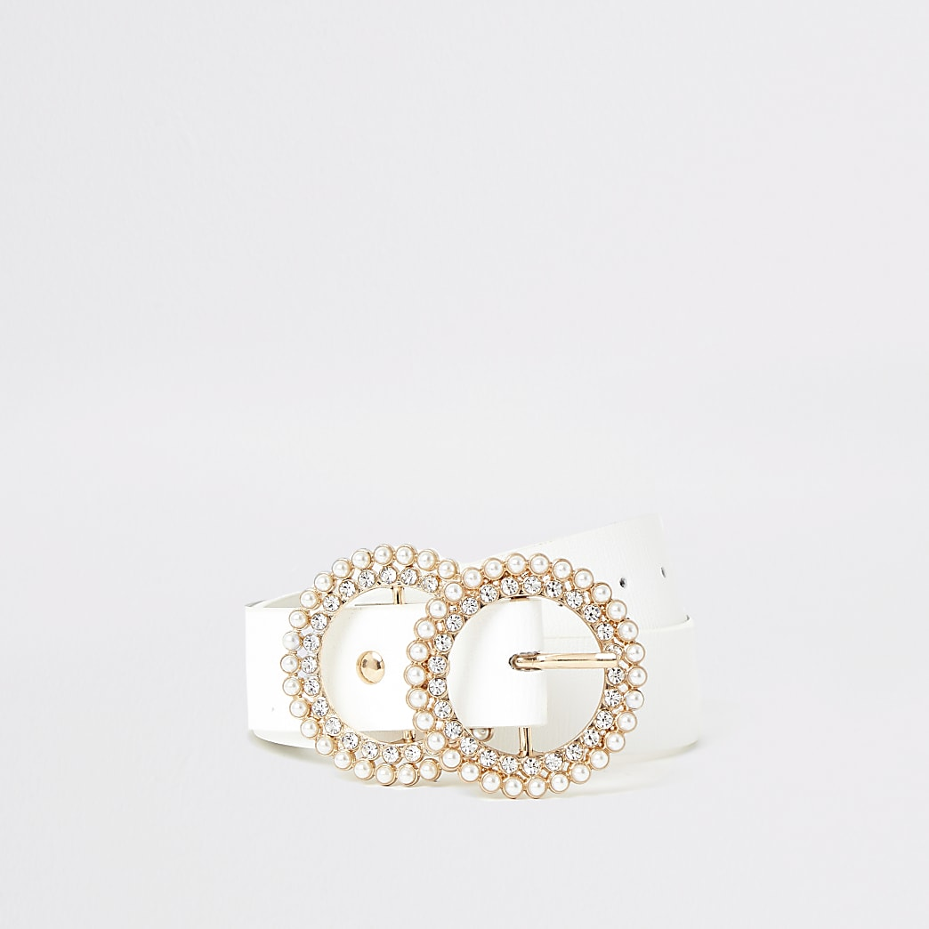 Girls white diamante pearl double ring belt