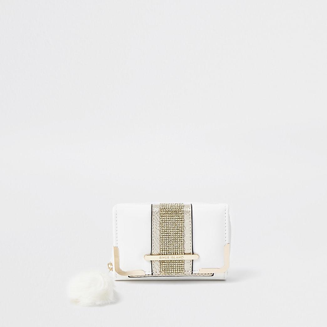Girls white diamante pom fold out purse