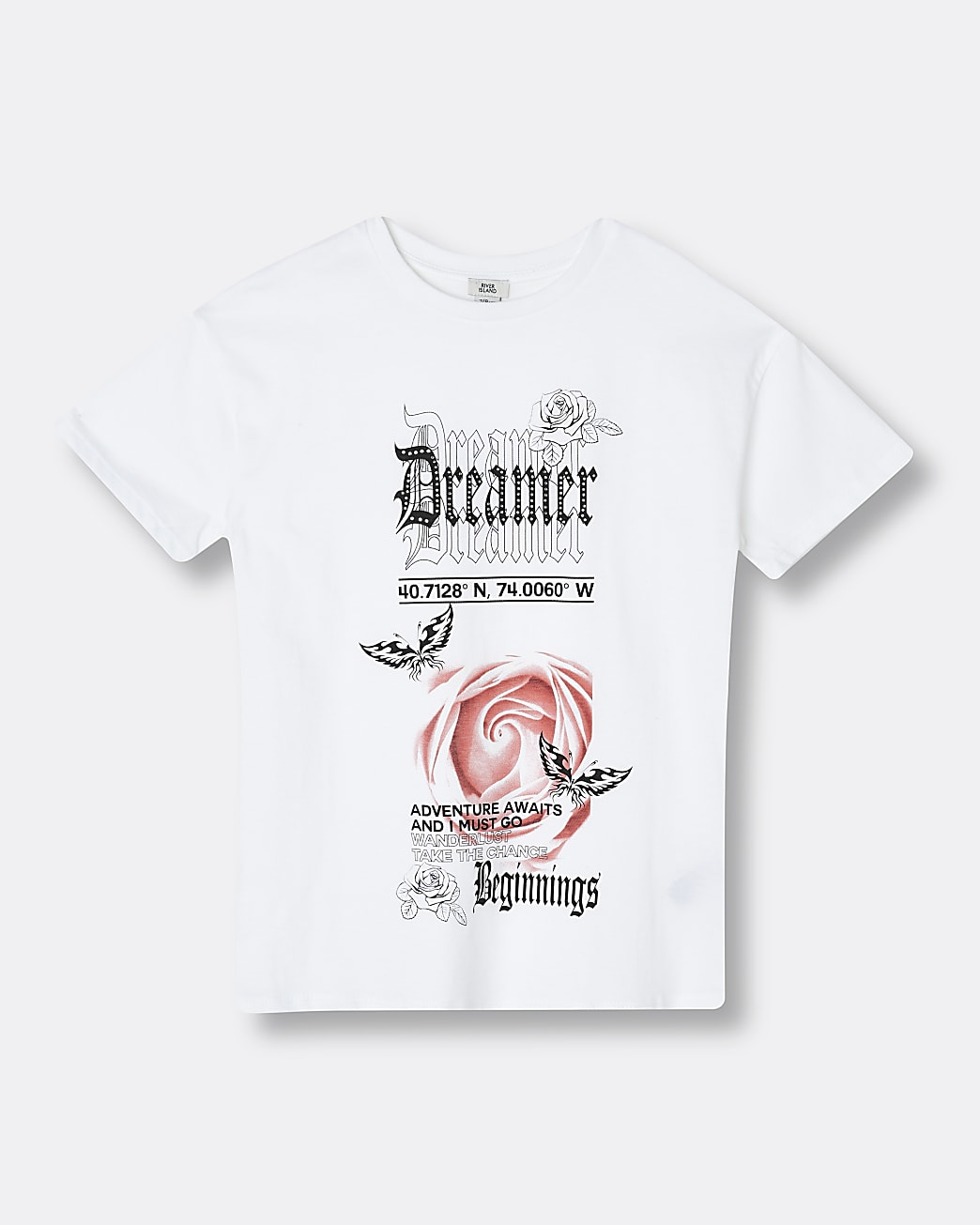 Girls white 'Dreamer' graphic t-shirt