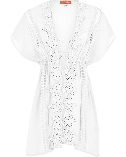 Girls white embellished kimono