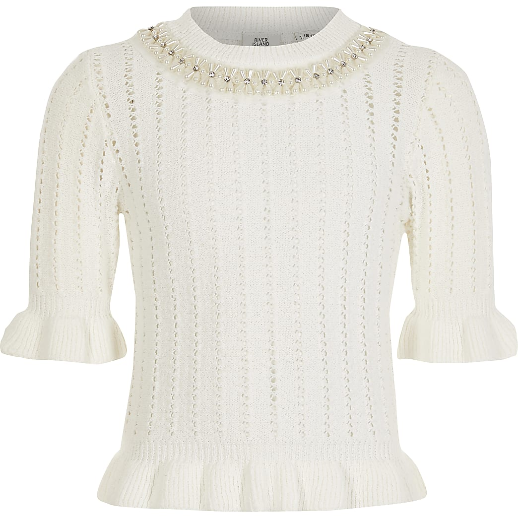 Girls white embellished knitted frill jumper