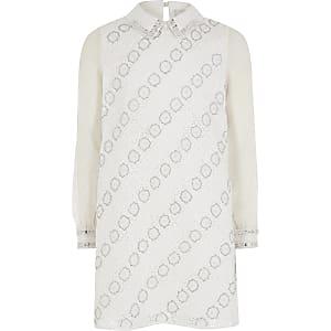 Girls white embellished shift dress