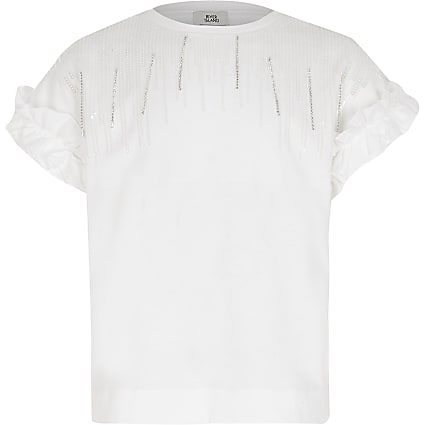 Girls white embellished tassel T-shirt