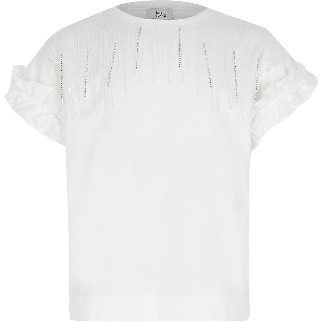 Girls white embellished tassel T-shirt