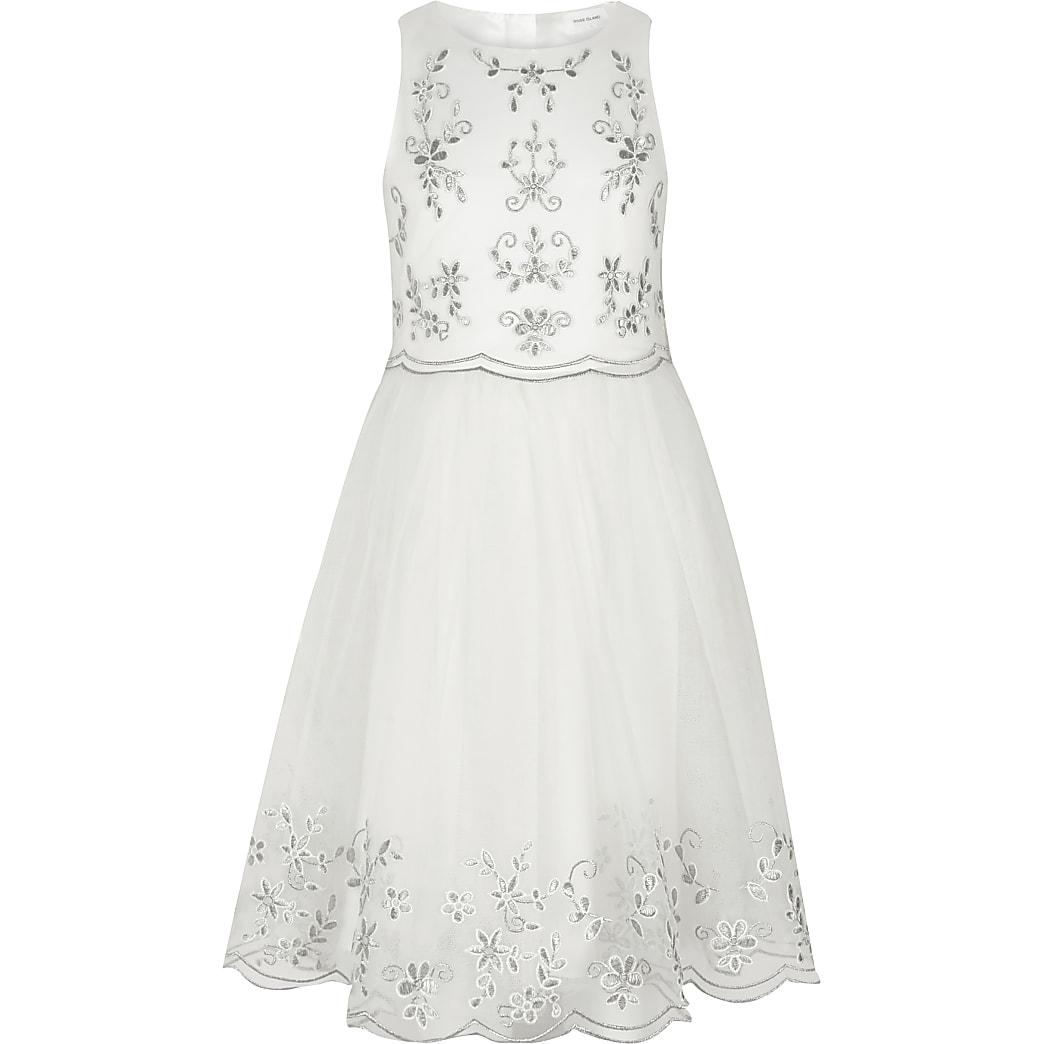 Girls white embroidered flower girl dress