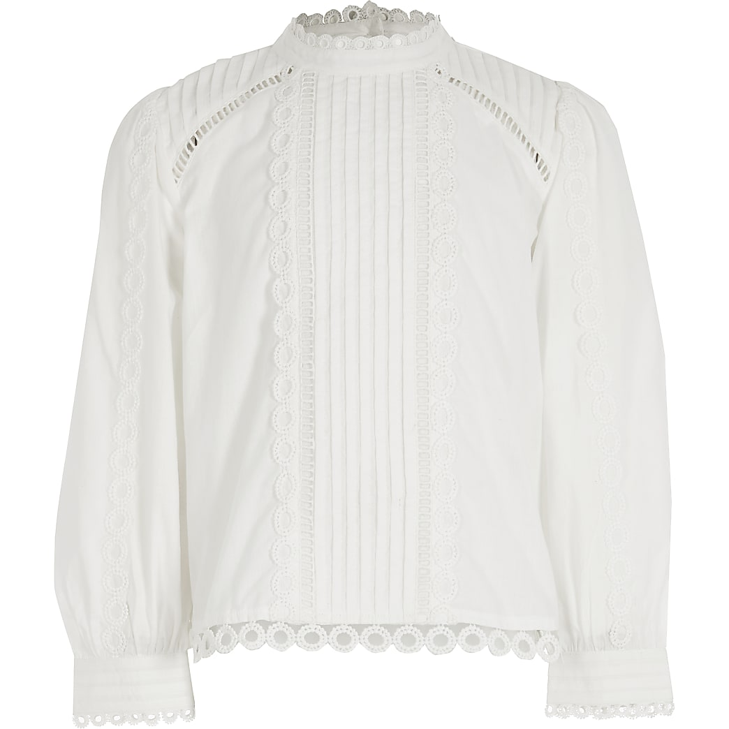 Girls white embroidered long sleeve blouse