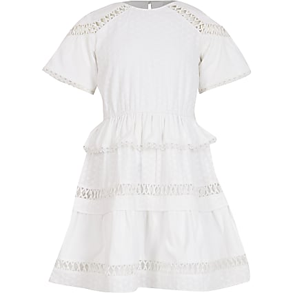 Girls white embroidered ruffle dress