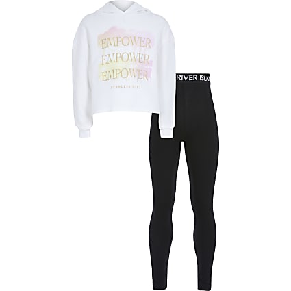 Girls white 'Empower' sweatshirt outfit