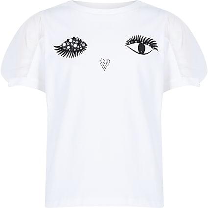 Girls white eyelash mesh T-shirt