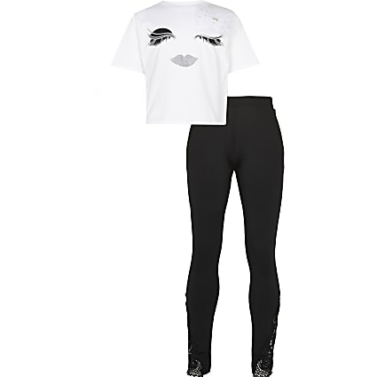 Girls white eyelash t-shirt & leggings outfit