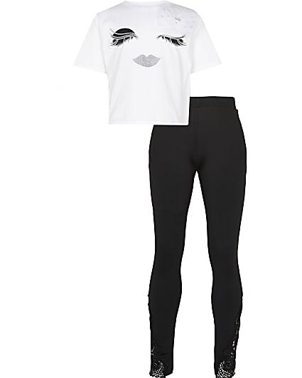 Girls white eyelash t-shirt & leggings outfit