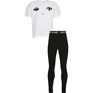 Girls white eyelash t-shirt legging outfit