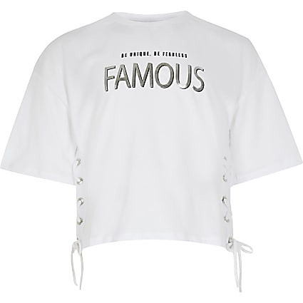 Girls white 'famous' print t-shirt