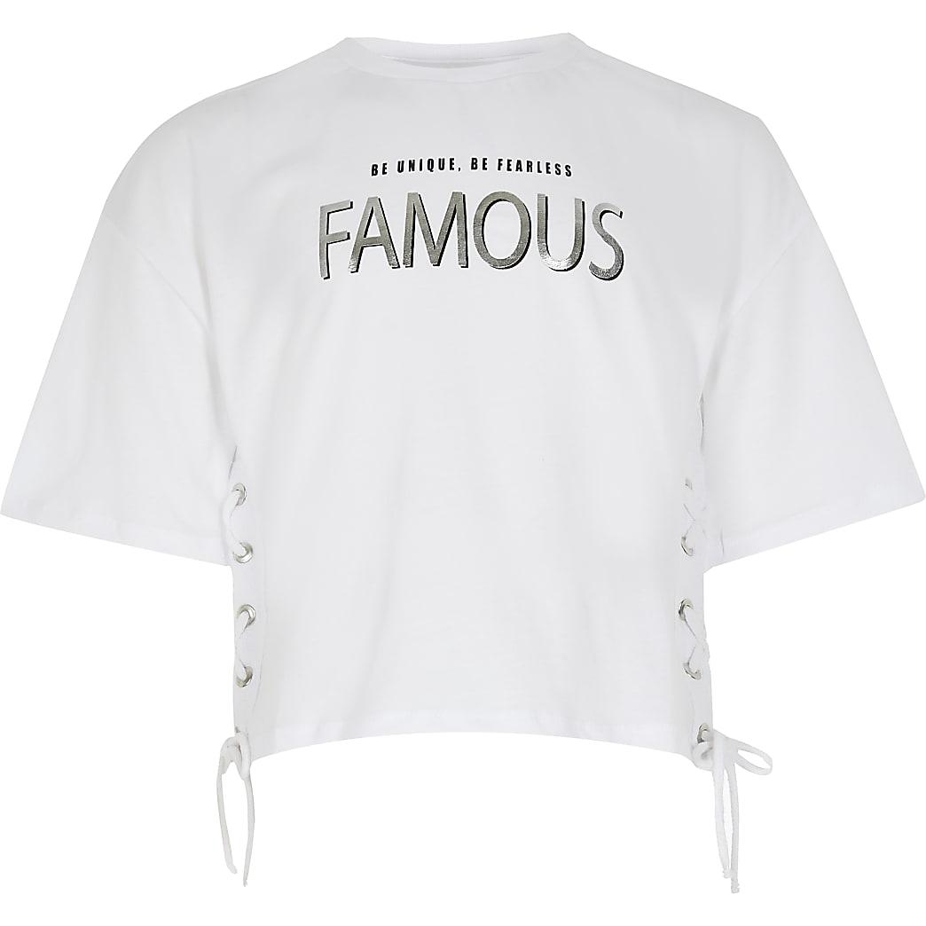 Girls white 'famous' print t-shirt