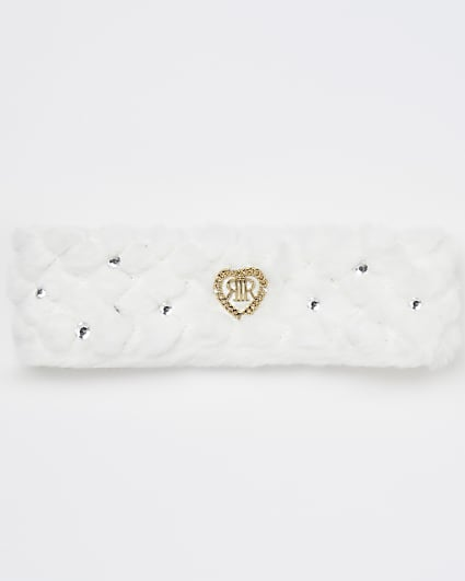 Girls white faux fur quilted headband