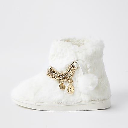 Girls white faux fur RI chain bootie slippers
