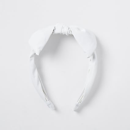 Girls white faux leather headband