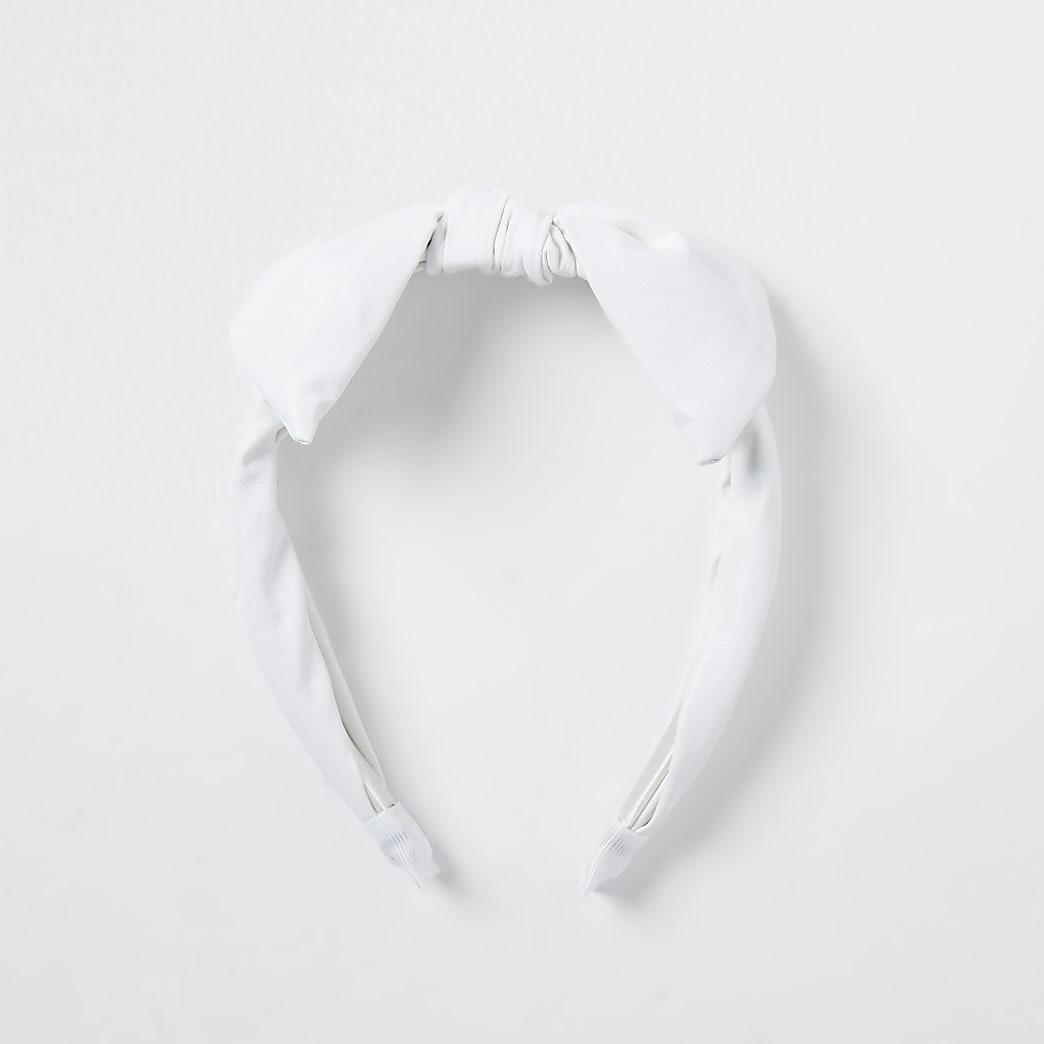 Girls white faux leather headband